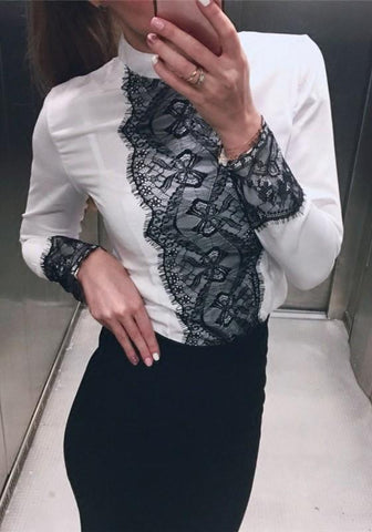White Patchwork Lace Zipper Round Neck Long Sleeve Fashion Blouse