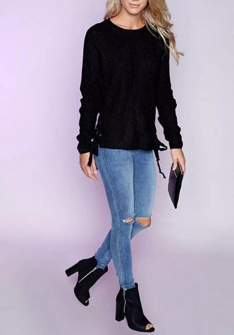Black Plain Hollow-out Side Lace-up Long Sleeve Oversized Casual Pullover Sweater