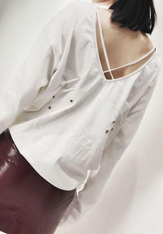 White Plain Cross Back Open Back Round Neck Long Sleeve Casual T-Shirt