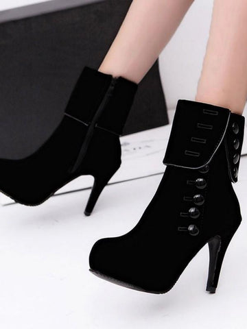 New Black Round Toe Buttons Fashion Ankle Boots