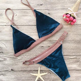 Blue-Pink Patchwork Spaghetti Strap Deep V-neck Two Piece Bikini Swimwear