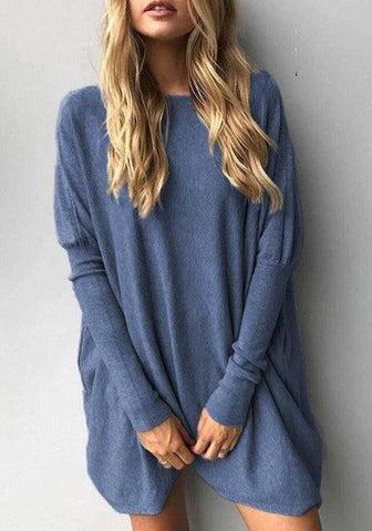 Blue Round Neck Long Sleeve Fashion Oversize Pullover Sweater