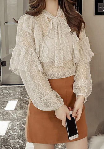 Apricot Patchwork Lace Belt Ruffle Bow V-neckFashion Blouse