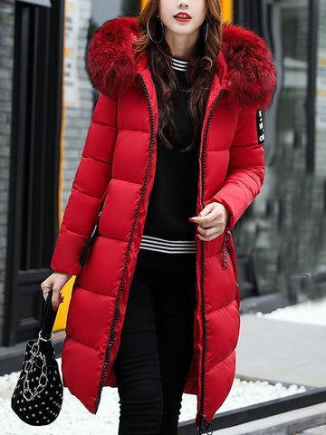 New Red Patchwork Monogram Fur Pockets Zipper Hooded Long Sleeve Casual Coat