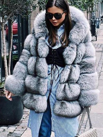 New Light Blue Faux Fur Pockets Hooded Fashion Outerwear