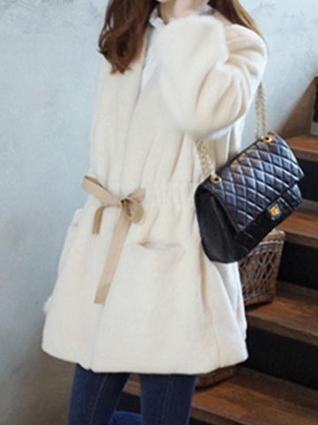 Rice White Pockets Sashes V-neck Long Sleeve Going out Faux Fur Coat
