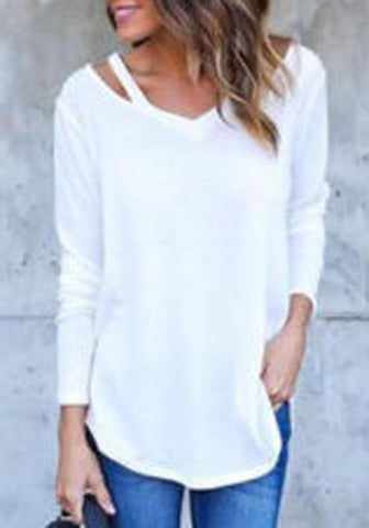 White Irregular Cut Out Long Sleeve V-neck T-Shirt