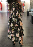 Multicolor Floral Print Sashes Long Sleeve See-through Bohemian Chiffon Coat