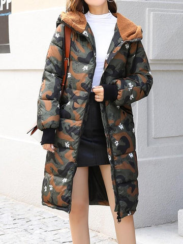 New Coffee Patchwork Floral Camouflage Bear Ear Pockets Drawstring Fur Zipper Hooded Long Sleeve Casual Coat