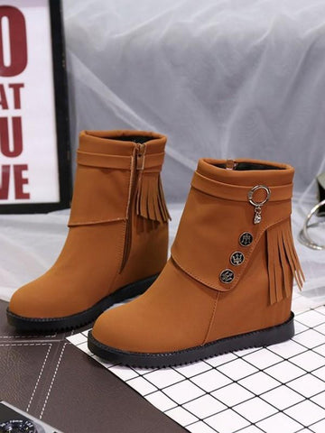 New Brown Round Toe Rivet Fashion Ankle Boots