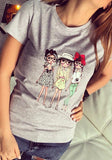 Grey Cartoon Figure Print Round Neck Cute Going out T-Shirt