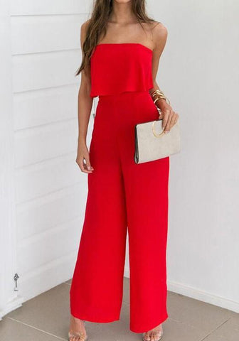 Red Bandeau Off Shoulder Backless High Waisted Party Wide Leg Long Jumpsuit