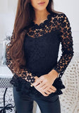 Navy Blue Flowers Lace Cut Out Round Neck Blouse