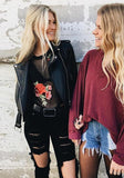Black Floral Embroidery Grenadine Long Sleeve T-Shirt