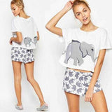 White Elephant Print Short Sleeve Two Piece Casual Short Jumpsuit