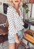 White Polka Dot Midriff Ruffle V-neck Fashion Blouse