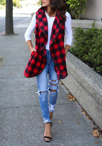 Red-Black Plaid Irregular Pockets Turndown Collar Christmas Casual Cardigan Vest Coat