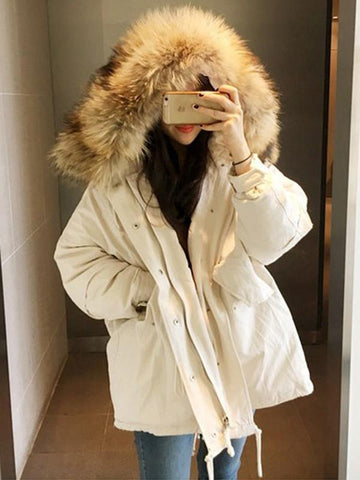 New Apricot Patchwork Pockets Single Breasted Drawstring Fur Zipper Hooded Long Sleeve Casual Coat