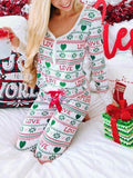 New White Floral Monogram Striped Bow Snowflake Love Print V-neck Long Sleeve Casual Long Jumpsuit