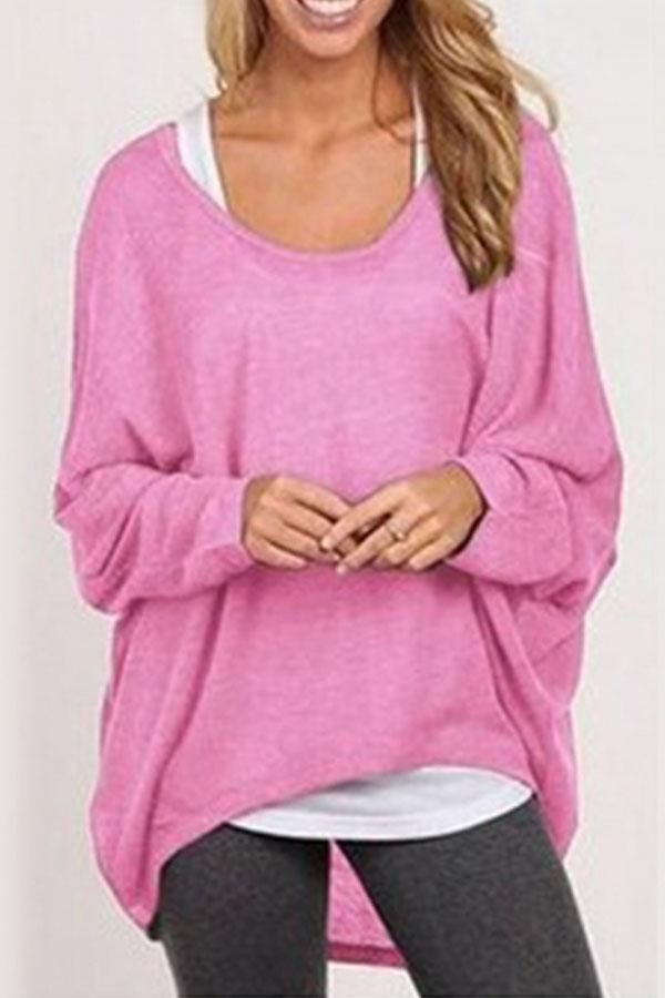 New Round Neck Asymmetric Hem Plain Batwing Sleeve Sweaters