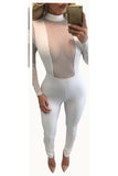 Pure Color High Neck Mesh Patchwork Long Sleeves Long Skinny Jumpsuit