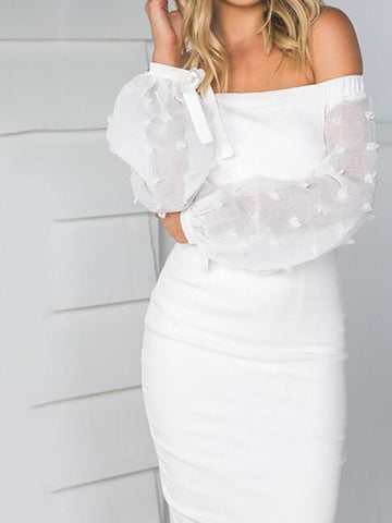 White Zipper Long Puff Sleeve Off Shoulder Backless Fashion Knee Length Midi Dress