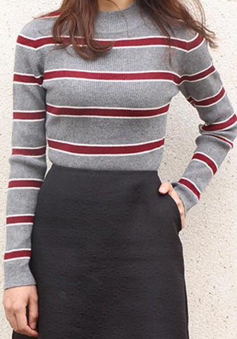 New Grey Striped Long Sleeve Pullover Sweater