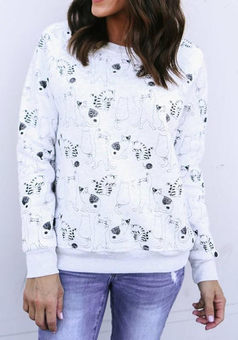 White Floral Print Round Neck Casual Pullover Sweatshirt