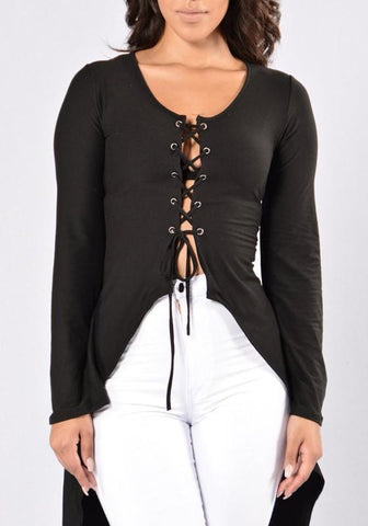 Black Drawstring Irregular Swallowtail Lace-up Fashion T-Shirt