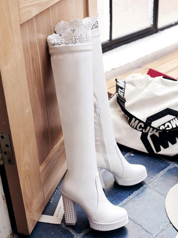 New White Round Toe Fashion Over-The-Knee Boots