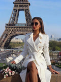 New White Drawstring Pockets Buttons Square Neck Long Sleeve Fashion Coat
