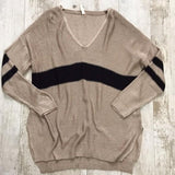 Khaki Color Block Patched Striped V-neck Long Sleeve Casual Pullover Sweater
