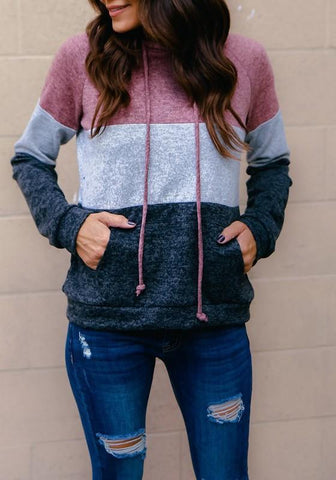 Grey Patchwork Drawstring Pockets Hooded Long Sleeve Fashion Pullover Sweatshirt