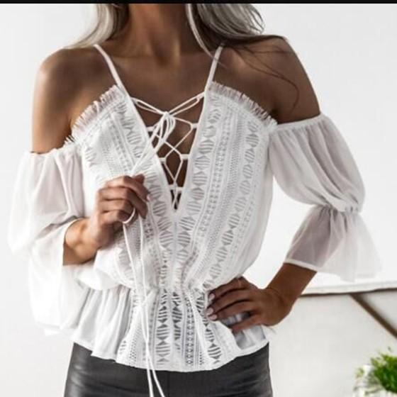 White Irregular Shoulder-Strap Off-Shoulder Deep V-neck Honey Girl Blouse