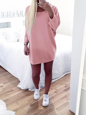 Pink Round Neck Long Sleeve Casual Mini Dress