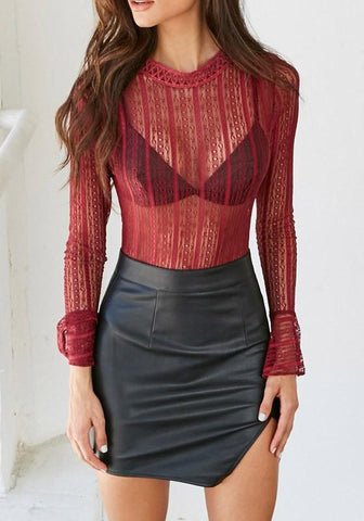 Burgundy Patchwork Lace Hollow-out See-through Band Collar Flare Sleeve Blouse