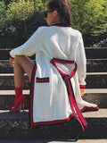 New White Patchwork Belt Pockets Band Collar Long Sleeve Fashion Outerwear