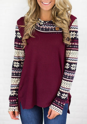 Red Snowflake Print Buttons High-Low Irregular Neck Casual Pullover Sweatshirt