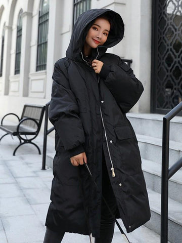 New Black Pockets Single Breasted Zipper Hooded Long Sleeve Casual Coat