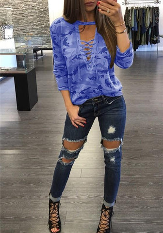 Blue Camouflage Print Drawstring V-neck Long Sleeve Casual T-Shirt