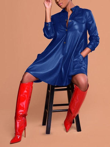 New Blue Single Breasted Pockets Long Sleeve Latex Vinly Patent Rubber Casual Mini Dress