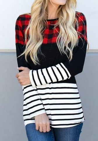 Red Plaid Striped Long Sleeve Round Neck Casual T-Shirt