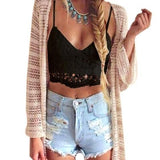 Black Patchwork Lace Hollow-out Spaghetti Strap Crop Tie Back Vest