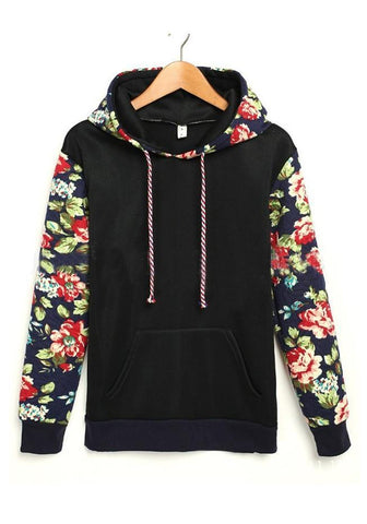 Black Retro Floral Print Pockets Hooded Long Sleeve Going out Sweatshirt