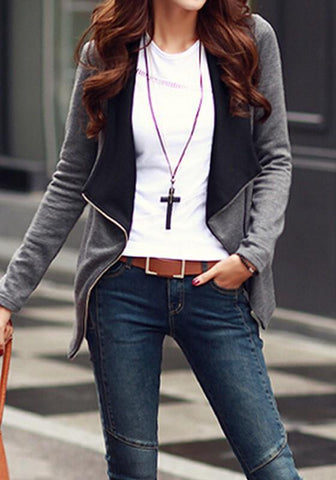 Grey-Black Patchwork Zipper Turn-Down Collar Long Sleeve Trendy Fashion Coat
