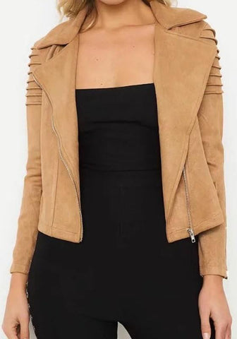 Khaki Pockets Zipper Suede Tailored Collar Fashion Coat