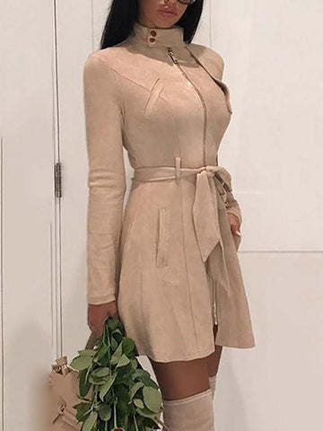 Khaki Zipper Pockets Belt High Neck Long Sleeve Casual Coat