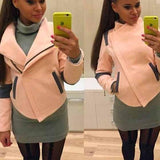 Pink Patchwork Pockets Turndown Collar Long Sleeve Zipper Casual Coat