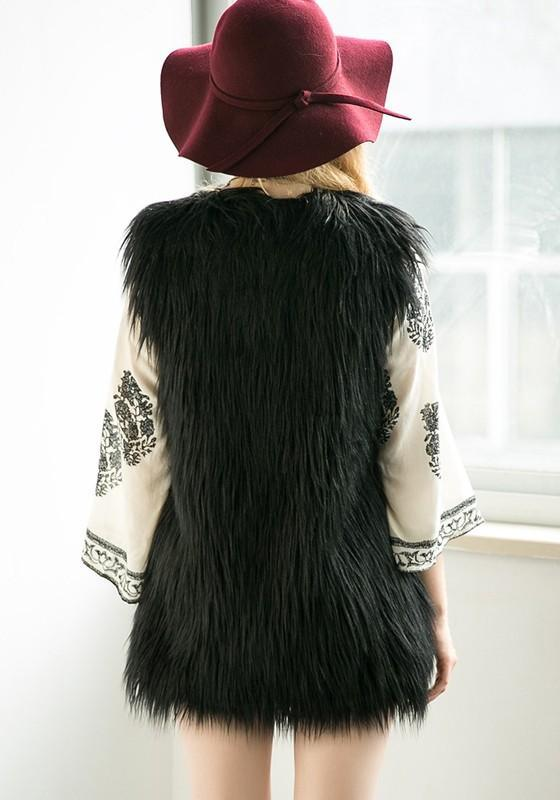 Black Irregular Faux Fur Vest Plus Size Sleeveless Fashion Coat