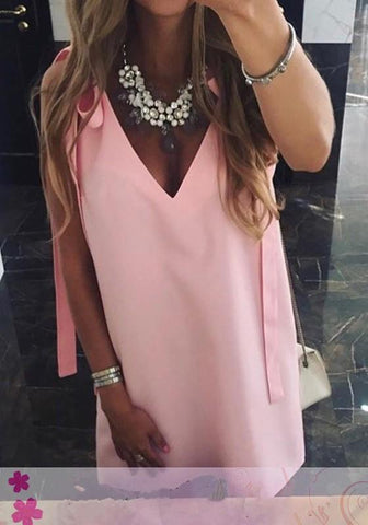 Pink Shoulder-Strap Lace-up Deep V-Neck Honey Girl Mini Dress